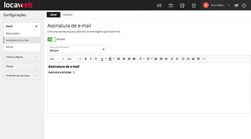 Assinaturas personalizadas no e-mail locaweb